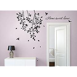 Grandora w903Sticker mural Inscription Home Sweet Home Home + branches avec oiseaux