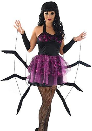 Fancy Me Damen Sexy Spinne Schwarze Witwe Halloween Tierkostüm Outfit UK 8-18 - schwarz/lila, UK (Schwarze Witwe Halloween)
