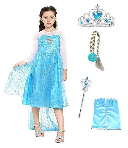Prinzessin Eis Kostüm Tanz - Inception Pro Infinite Größe 150 - 7 - 8 Jahre - Kostüm ELSA mit Zubehör - Krone - Zauberstab - Handschuhe - Zopf - Mädchen - Blau - Kleid - Karneval - Halloween - Cosplay - Prinzessin - Frozen
