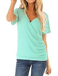 958a708687 VEMOW Camisa Mujer Tops Blusas Chaleco con Cuello Cruzado con Cuello en V y  Camisa de