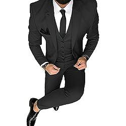 YSMO Herren Solide 7-teilig Anzug Slim Smoking Blazer Jacke Hosen Weste Set