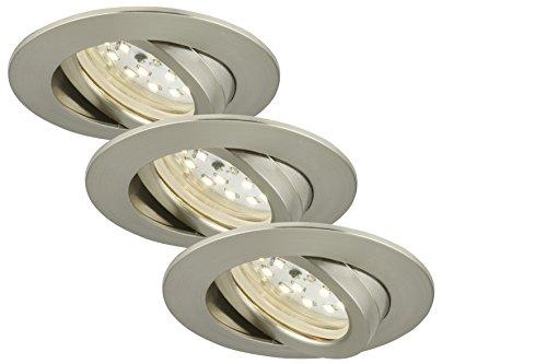 Briloner Leuchten 7209-032 LED Einbauleuchten 3er Set, Einbaustrahler schwenkbar, 230V, kein Trafo notwendig, Einbaulaulampe 5W, warm weiß, flache Einbautiefe 3cm, energiesparend, rund, matt-nickel