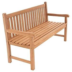 Divero 3-Sitzer Bank Holzbank Gartenbank Sitzbank 150 cm - zertifiziertes Teak-Holz behandelt hochwertig massiv - Reine Handarbeit - Wetterfest (Teak behandelt)