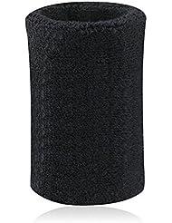 BAITER Hombres Pulseras Muñequeras para Baloncesto Tenis y bádminton Deportes de mano de algodón, color Negro - negro, tamaño 8 * 15 cm / 3.15 * 5.91 inch