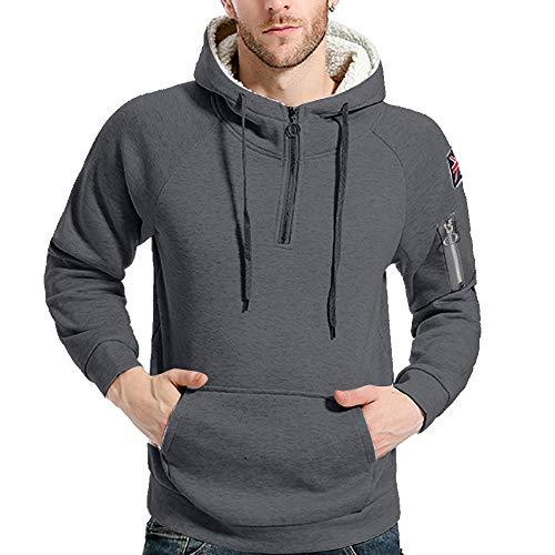 Preisvergleich Produktbild Mantel Herren, Herren Reine Farbe Reißverschluss Pullover Langarm mit Kapuze Sweatshirt Tops Bluse,  Binggong Herren Mantel