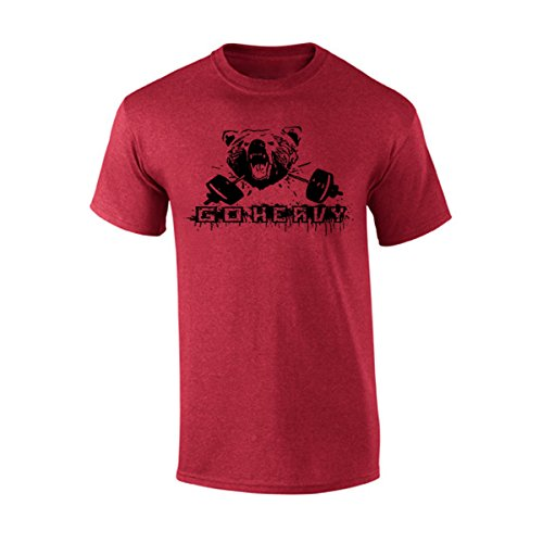 GO HEAVY Hombre Sport Shirt - Bear & Barbell - Heather Red - L