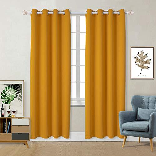 Vorhänge Gardine Verdunklungsgardine mit Ösen 2 Stück Sonnenschutz für Schlafzimmer, Wohnzimmer (H 175 X B140cm, Gelb)