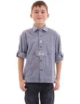 Kinder Trachtenhemd von Isar Trachten, sehr gut passend zur Lederhose, Farbe:Dunkelblau;Größe:98