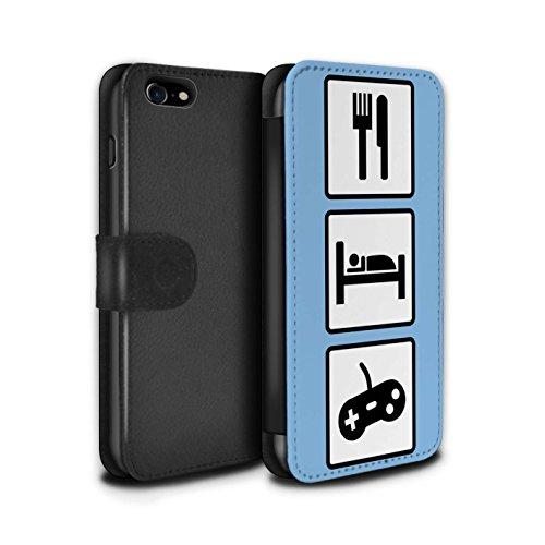 Stuff4 Coque/Etui/Housse Cuir PU Case/Cover pour Apple iPhone 7 / Merde/Rose Design / Manger/Sommeil Collection Jeu/Jeux/Bleu