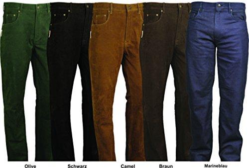 Lederjeans Damen-Lederjeans Herren - 5 Pocket Lederhose, Lederhose lang Herren Nubuk Echt Leder- Lederhose Herren lang in Inchgrößen 7 Farben Camel