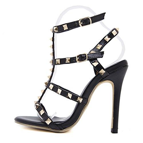 YR-R Arbeiten Sie Bolzen Römische Schuhe Stiletto Frauen Sandalen Riemchen Knöchelriemen-Schnalle öffnen Toe Dorsay Pumpen Für Partei-Abend,Black-EU:37/UK:4.5