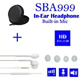 SBA999 HD Sound 3.5mm Earphone With Mic Volume Control For Samsung Motorola Sony Oneplus HTC Lenovo Nokia Asus Lg Coolpad Xiaomi Micromax And All Android Phones With 4 Extra Buds And Earphone Pouch