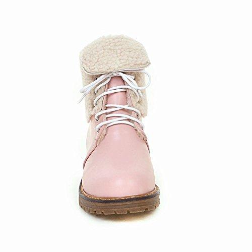 Mee Shoes Damen warm gefüttert chunky heels kurzschaft Stiefel Pink
