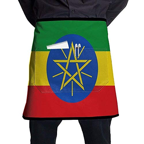 GDESFR Apron with Pock,Flag of Ethiopia Bib Aprons Classic Pockets Half-Length Long Waist Kitchen Aprons Half Aprons