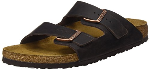 BIRKENSTOCK Classic Damen Arizona Leder Softfootbed Pantoletten, Braun (Metallic Copper), 41 EU -