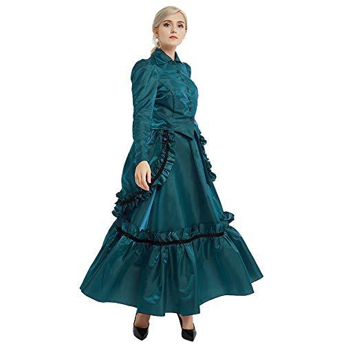 GRACEART Viktorianischen Kostüm Mädchen Karnevalskostüm Steampunk Anzug Damen (Blau, - Steampunk Kostüm Mädchen