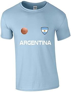 EBUK Argentina Copa Del Mundo 2018 Fútbol Retro Informales Camiseta Hombre No Oficial