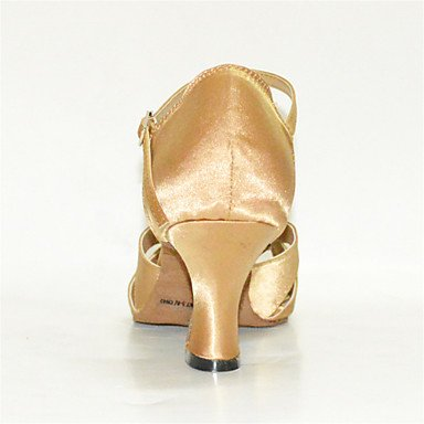 XIAMUO Anpassbare Damen Tanz Schuhe Satin Latin/Jazz/Swing Salsa Schuhe/Sandalen/Fersen angepasste HeelPractice/Anfänger Hellgelb