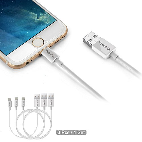 Cable iPhone 6/6S - TURATA 3 Paquetes 3ft x 2 ,1ft x 1 Lightning Cable iPhone Cable cargador de datos de USB [Ultra Rápido ] Compatible para iPhone 5 , 5s , 5c , 6 , 6s ,6 Plus,6S Plus ,iPad Air , Air 2 , iPad Mini y iPad Pro (Blanco)
