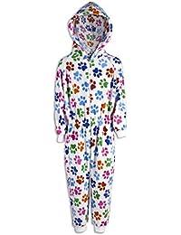 Camille - Pijama Infantil de una Pieza - Estampado de Huellas de Perro Multicolor - Blanco