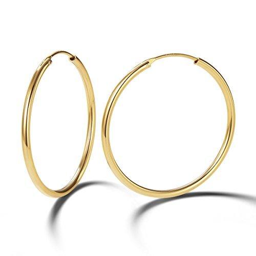 Pendientes De Aro para Mujer Plata de ley 925 Chapada en Oro círculo Aretes Pendientes Hoops - Diámetro: 35 mm