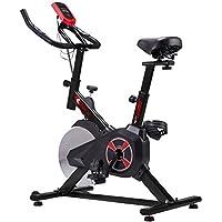 KUOKEL K601 Bicicleta de Spinning Bicicleta estática con Rueda Resistencia Variable Monitor Digital Pantalla LCD Soporte de Agua Asiento y Manillar Ajustables Profesional Uso doméstico (Negro)