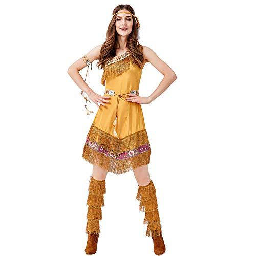 BERTHACC Halloween-Kostüme, Indischer Stamm Primal Kostüme Mädchen-Partei-Klagen Spiel Uniformen Versuchung Cosplay Makeup Halloween (Kostüm Der Indischen Stämme)