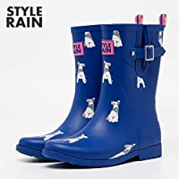 ZQDZYA Wellington Boots,Hao Rubber Ladies Waterproof Section In The Outer Wear Korean Cute Summer Matte Rain Boots Fashion Shoes In The Tube Rubber Blue Puppy Pvc Women Wellington Boots