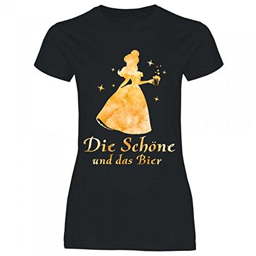Royal Shirt a16 Damen T-Shirt Die Schöne und Das Bier | Partyshirt Sprücheshirt Girlyshirt, Größe:L, Farbe:Black