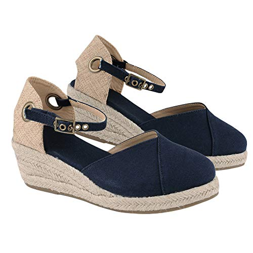 Lueyifs - Sandalias para Mujer con tacón en cuña y Hebilla para Tobillo, Color Azul, Talla 36 EU