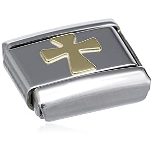 Nomination Composable Classic Religion Edelstahl und 18K-Gold (Kreuz) 030105