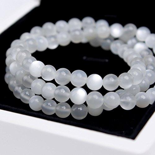 Moon Fairy (Ondine) 6mm Layered wertvolle Natürliche Sri-Lanka-Mondstein weiß Elastic Perlen Armband