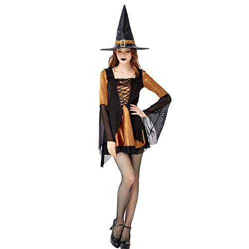 FGDJTYYJ Halloween Cosplay Hexenspielanzug, Hexenkleid Hexe Hexe Nachtclub DS Maskerade Kostüm (Rock + Hut),M (Molkerei Mädchen Kostüm)