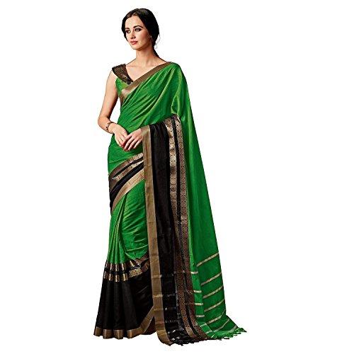 Indian Beauty Women's Cotton Silk Saree (Charmi-Green-A _Green)