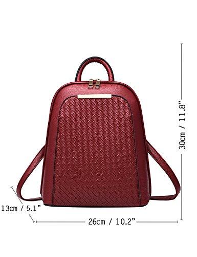 Menschwear PU Zaino Satchel Daypack sacchetto di scuola Argento Vino Rosso