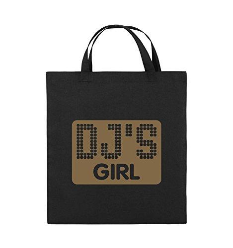 Comedy Bags - DJ'S GIRL - NEGATIV PUNKTE - Jutebeutel - kurze Henkel - 38x42cm - Farbe: Schwarz / Silber Schwarz / Hellbraun