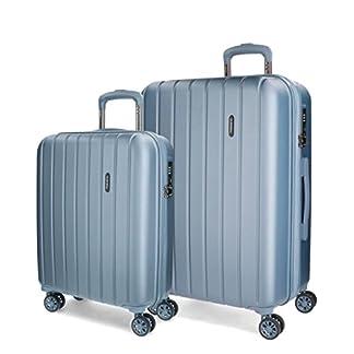 Juego de maletas Movom Wood rígido 55-65cm Plata