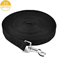 NEEGO Dog Training Lead 30M/100FT Long Dog Leads Training Leash for Camping Tracking Training Obedience Backyard Play Strong Nylon lead with all Metal Components (30M/100FT, Black)