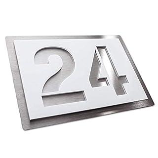 Hausnummer-Plakette – Edelstahl & Acrylglas – weiß satiniert – kratzfest & wetterfest – Ziffern & Buchstaben (215x150 mm)