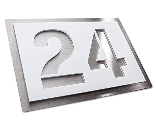 Hausnummer-Plakette - Edelstahl & Acrylglas - weiß satiniert - kratzfest & wetterfest - Ziffern & Buchstaben (250x175 mm) - Plakette
