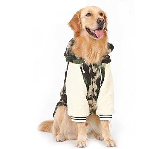 GWELL Hundejacke Hundepullover Kapuzenpullover Kapuzenpulli mit Ärmel für Großen Hund im Herbst Winter Frühling Camouflage 6XL