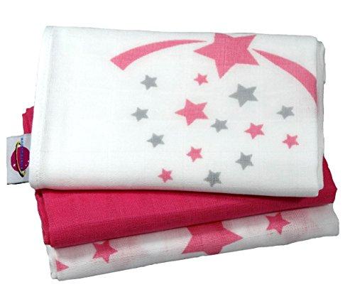 babymajaweltr-langes-en-mousseline-stars-etoiles-70x70-cm-3-pieces-pink
