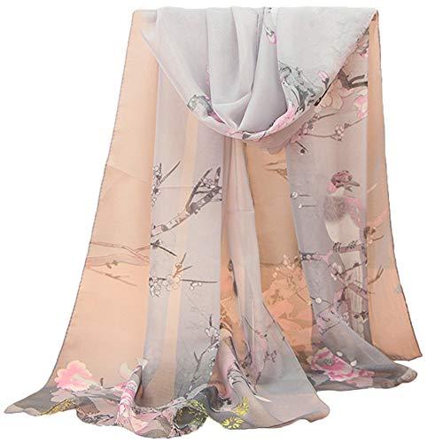 tücher, BaZhaHei Damenmode Jacquard Baumwolle Pariser Streifen Schal weichen Strandtuch Schal Weiche Blumen Pfau Printed Lange Schals Stola Modeschal ()