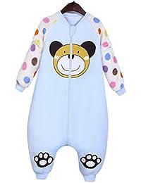 Happy Cherry Saco de Dormir Acolchado Pijama de Mangas Largas Ropa de Cama Cartoon Bolsa de Dormir Sleepwear para Bebés Niños Niñas