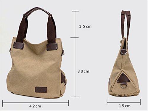 ERGEOB Damen Canvas Umhängetasche Messenger Tasche Damentasche schwarz 02 kaffee
