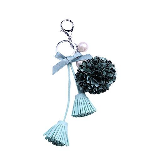 Kanggest Bogen mit Fransen Schlüsselanhänger Blume Perle Schlüssel Zubehör Tasche Anhänger optional drei Farben (grün) (Fransen Herz)
