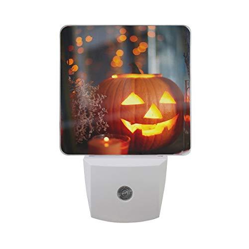 DFISKK Nachtlicht Set of 2 Scary Halloween Pumpkin Lantern in Window with Orange Neon Auto Sensor LED Dusk to Dawn Night Light Plug in Indoor for Adults