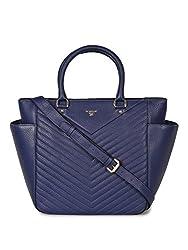 Da Milano LB-4222 Blue Leather Handbag