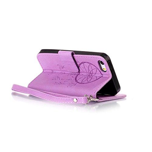 Linvei iPhone 5/5S/5SE Flip Case housse Téléphone Portable Étui de Protection Rabattable Style Flip Cover PU Cuir avec Fermeture Aimantée pour iPhone 5/5S/5SE -Fleur Marron Purple Dreamcather
