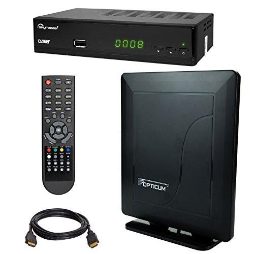 HB Digital DVB-T/T2 Set: Opticum T90 HEVC DVB-T/T2 Receiver + Opticum HD550 DVB-T/T2, FM, DAB Aktive Antenne (Full HD, HEVC/H.265, HDTV, HDMI, SCART, USB 2.0 DVBT DVBT2 DVB-T2)